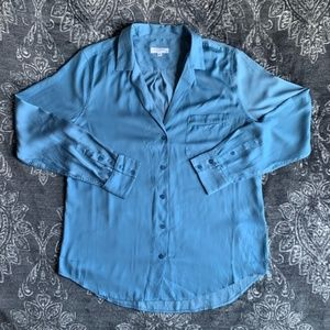 Equipment Satin Keira Button Long Sleeve Top Large